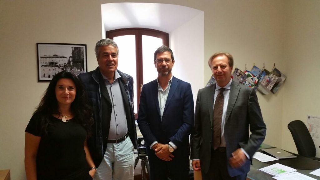 Il nuovo Cda della Sts conj il sindaco Mastrosanti. Da sx Susanna Nicolodi Valerio Del Vescovo e Mario Angelici