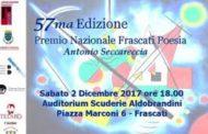 FRASCATI POESIA. CERIMONIA DI PREMIAZIONE SABATO 2 DICEMBRE 2017 ORE 18,00  Auditorium Scuderie Aldobrandini