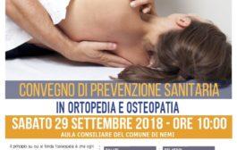 NEMI: CONVEGNO ORTOPEDIA E OSTEOPATIA - 29 SETTEMBRE