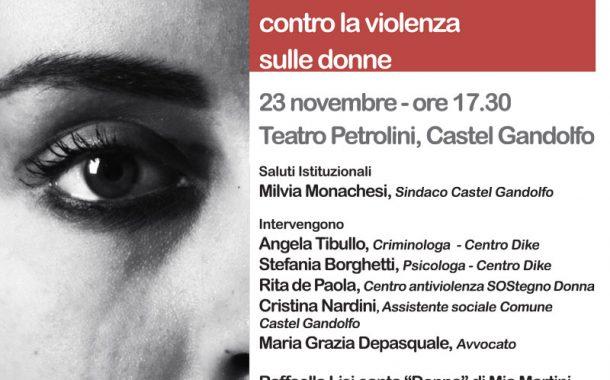 """""""Non è amore"""" A Castel Gandolfo il 23 novembre un incontro di sensibilizzazione contro la violenza sulle donne"""
