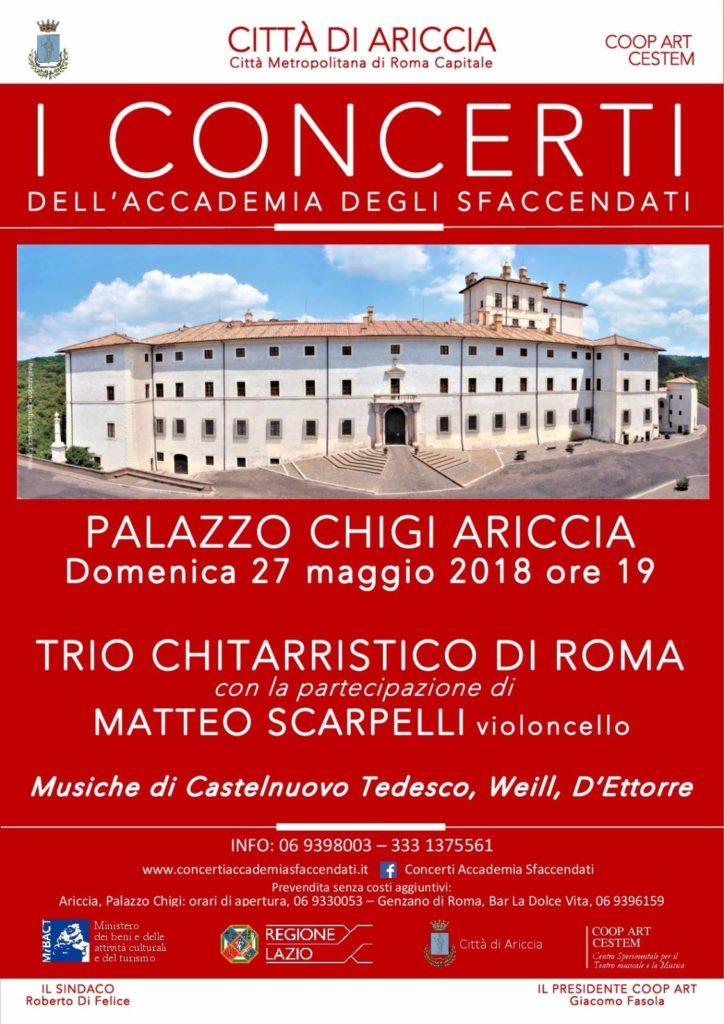Ariccia, 27 maggio a Palazzo Chigi il Trio Chitarristico di Roma