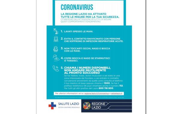 MISURE DI INFORMAZIONE E PREVENZIONE CORONAVIRUS